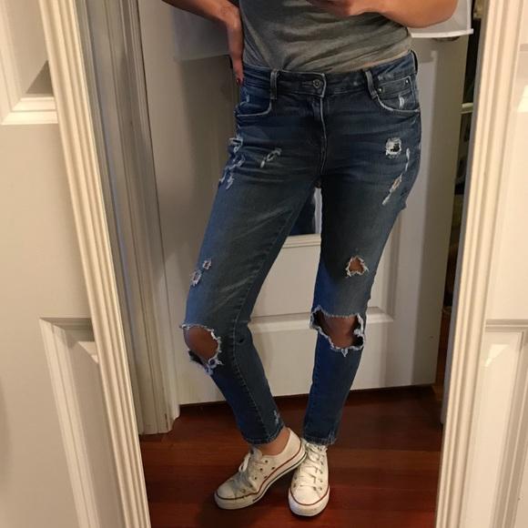 117b357b7d Zara destroyed skinny twisted seam denim jeans 4